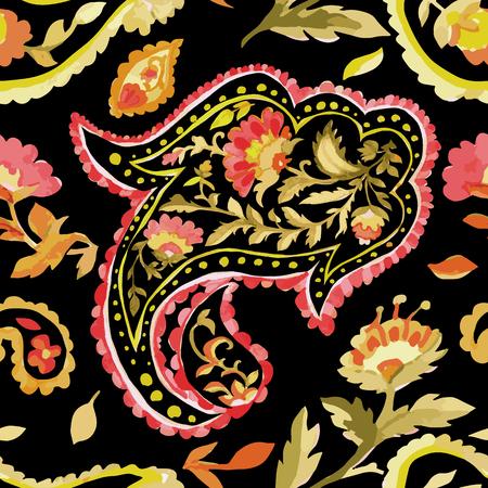batik: Aquarelle paisley seamless. Les couleurs chaudes. Art indien, persan ou turc. Vecteur de fond.
