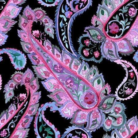 pâquerette: Aquarelle paisley seamless background. Art indien, persan ou turc. Modèle vectoriel. Coold couleurs.
