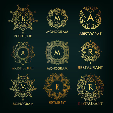 Set of luxury, simple and elegant  monogram designs template with copy-space for text . Good for labels and logotypes. Vector illustration. Vector