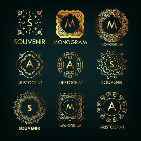 letras de oro: Conjunto de lujo, monograma simple elegante de oro diseña la plantilla con copia espacio para el texto. Bueno para etiquetas. Ilustración del vector.