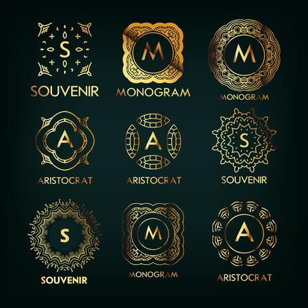 Set of luxury, simple golden elegant  monogram designs template with copy-space for text . Good for labels. Vector illustration.