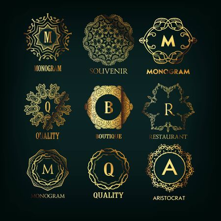 crown logo: Set of luxury golden elegant  monogram designs template with copy-space for text . Good for labels. Vector illustration. Logotype.