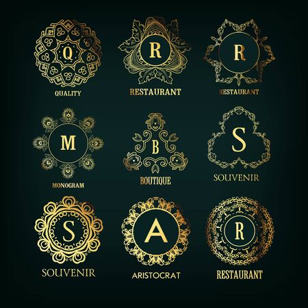Set of luxury, simple and elegant golden monogram designs template with copy-space for text . Good for labels and logos. Vector illustration. 矢量图像