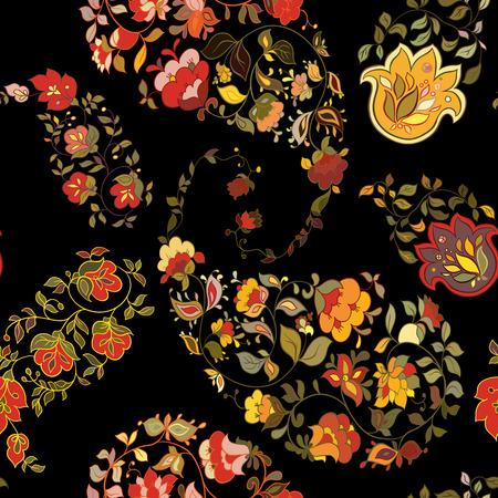 batik: Oriental  paisley seamless pattern with black background.  Floral motifs. Illustration