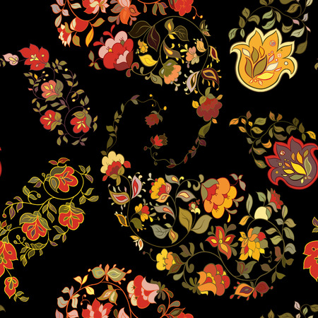 Oriental  paisley seamless pattern with black background.  Floral motifs. Illustration