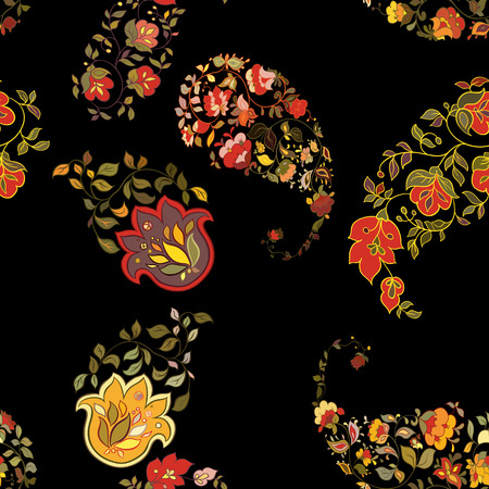 Oriental  paisley seamless pattern with black background.  Floral background. Vector