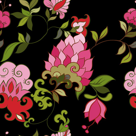 persian: Floral seamless pattern. Indian, persian or turkish art. Vector background. Abstract fantasy illustration.