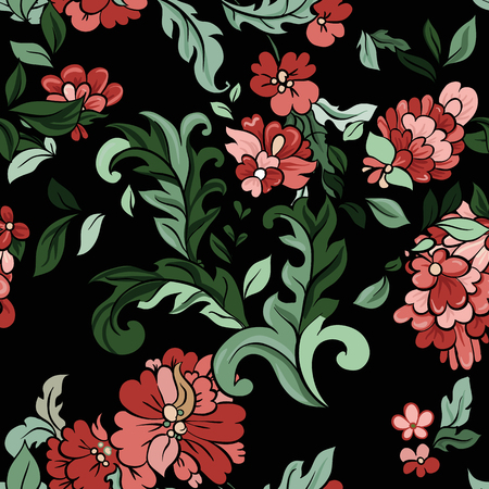 baclground: Beautiful  floral seamless pattern on black baclground. Vector. Illustration