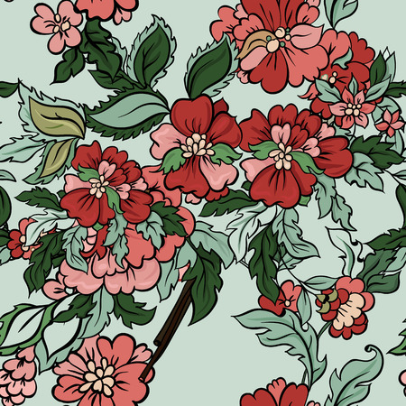 china rose: Beautiful  floral seamless pattern with mint backdrop. Vector background.  Flowers and leaves. Illustration