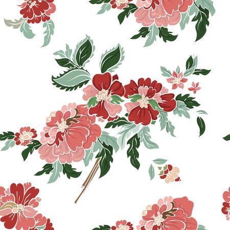 batik: Belle floral seamless pattern. Composition lumière sur blanc. Vecteur de fond.