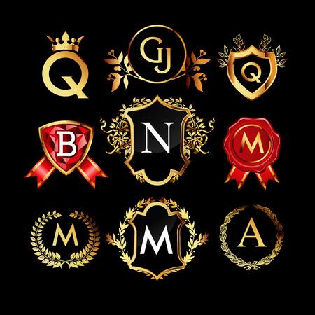 luxo: Jogo dos monogramas de luxo de ouro, etiquetas, coroas de louros ou logotipos. Ilustração