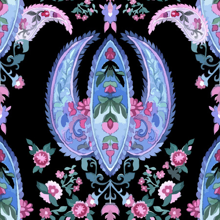 pink floral: Watercolor paisley seamless background.