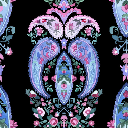 marguerite: Aquarelle paisley seamless background.