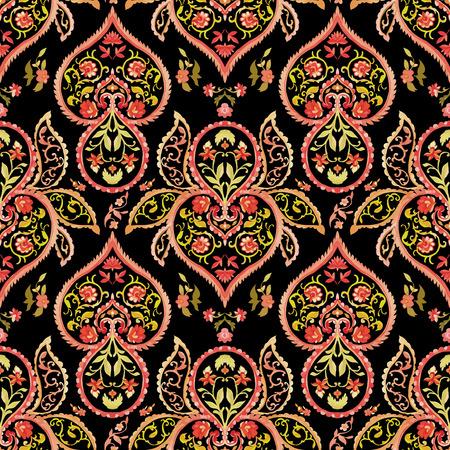 warm colors: Acuarela de Paisley sin patrón. Los colores cálidos. Arte indio, persa o turco. Vector de fondo.