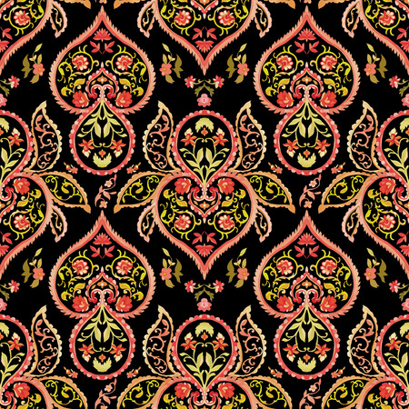 red rug: Watercolor paisley seamless pattern. Warm colors. Indian, persian or turkish art. Vector background.
