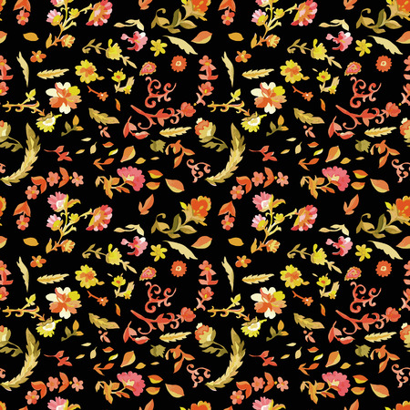 Watercolor paisley seamless pattern with flowers. Warm colors. Indian, persian or turkish art. Vector background.