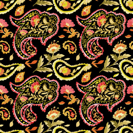 Watercolor paisley seamless pattern. Warm colors. Indian, persian or turkish art. Vector floral background.