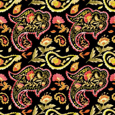 batik pattern: Watercolor paisley seamless pattern. Warm colors. Indian, persian or turkish art. Vector floral background.