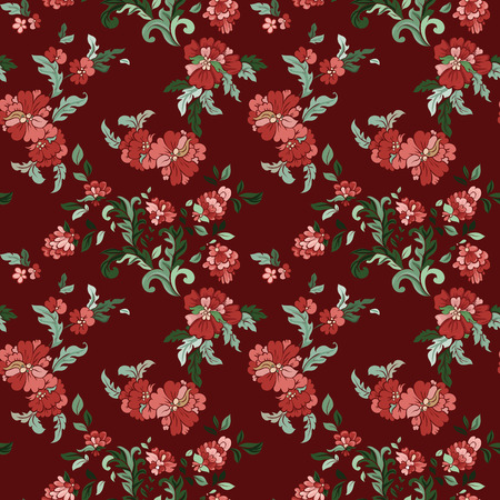 bordo: Beautiful  floral seamless pattern with bordo backdrop. Vector background.  Flowers and leaves.