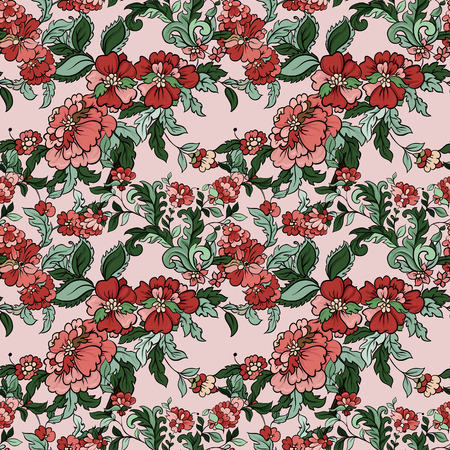 green carpet: Beautiful  floral seamless pattern with pink backdrop. Vector background.  Flowers and leaves.