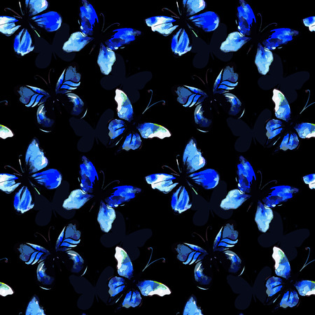 morpho: Flying watercolor morpho butterfly seamless pattern. Vector background. Illustration