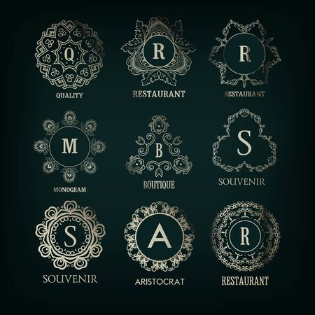 vintage banner: Set of luxury, simple silver elegant  monogram designs template with copy-space for text . Good for labels.