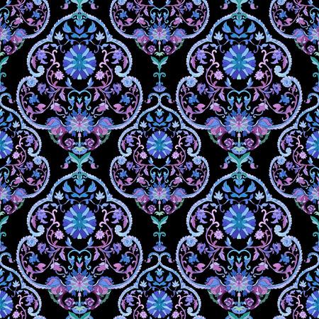 batik: Aquarelle boho paisley seamless. Les couleurs froides. Art indien, persan ou turc. Vecteur de fond.