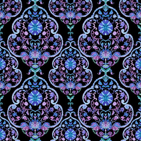Watercolor boho paisley seamless pattern. Cold colors. Indian, persian or turkish art. Vector background.