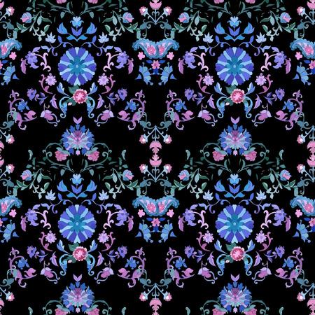 batik: Watercolor boho paisley seamless background. Cold colors. Indian, persian or turkish art. Vector pattern.