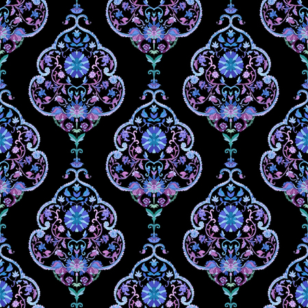 persian: Watercolor boho paisley seamless background. Cold colors. Indian, persian or turkish art. Vector pattern.