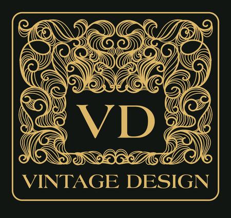 art logo: Vintage floral frame with copy space for text mono line style - monogram design element. Vector illustration.