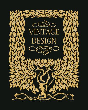 vintage border: Beautiful Vintage floral frame with copy space for text with tree - monogram design element. Vector illustration. Illustration