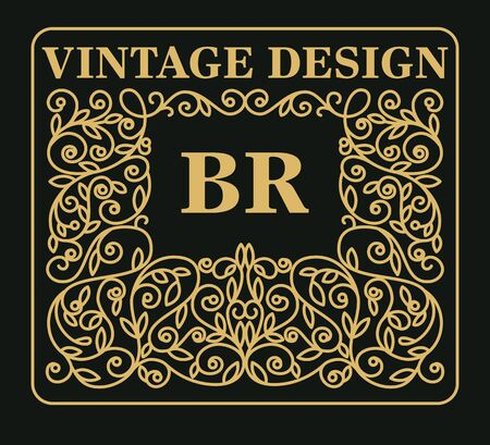 Vintage floral frame with copy space for text in trendy  style - monogram design element. Vector illustration. Illustration