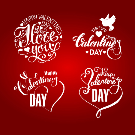 valentine day: Valentines day  handdrawn lettering and calligrahy collection  on redbackground