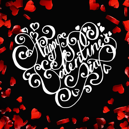 saint: Valentines day handdrawn lettering card on red heart background