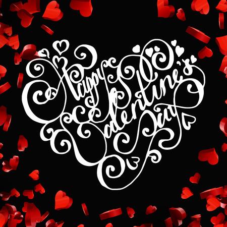 saint valentine: Valentines day handdrawn lettering card on red heart background