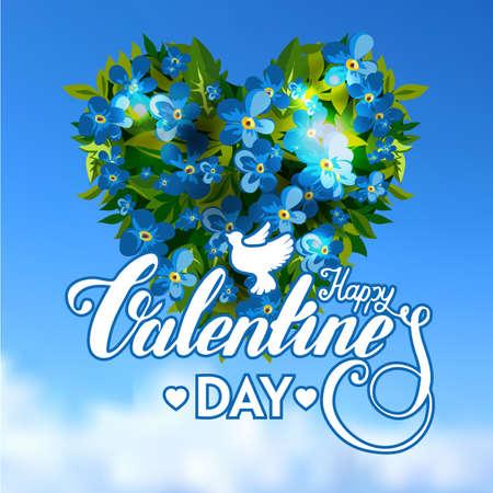 love letter: Tarjeta de felicitación Vilentines Día letras del corazón con la flor Vectores