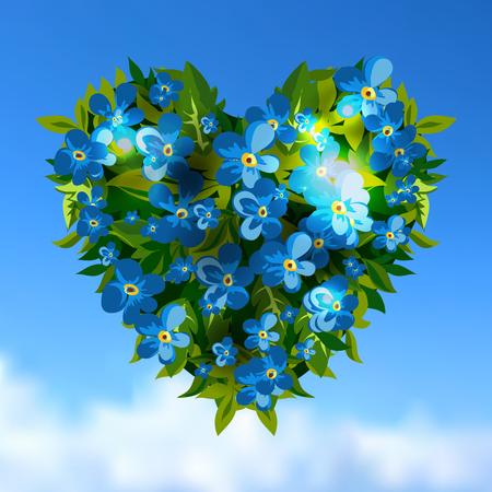 love letter: Tarjeta de felicitación del día Vilentines Corazón con la flor