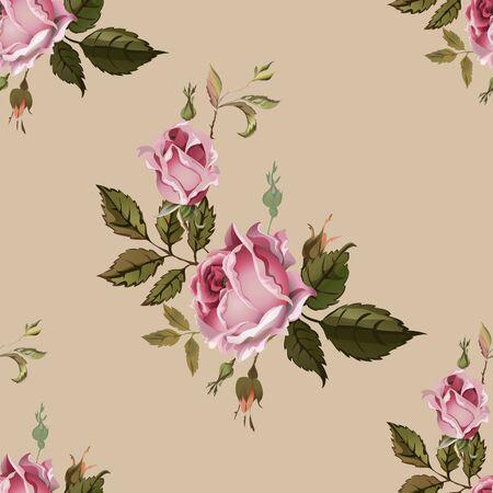 Modelo inconsútil de la vendimia con las rosas. Viejo estilo. Ilustración de vector