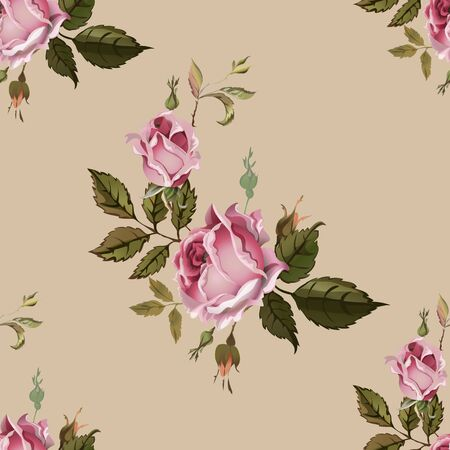 pink rose: Vintage seamless pattern with roses. Old style. Illustration