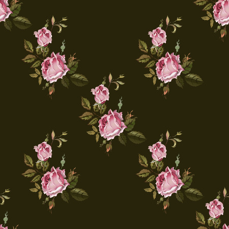 romance bed: Vintage seamless pattern with roses. Old style. Illustration