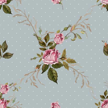 pattern vintage: Vintage seamless pattern with roses. Old style. Illustration