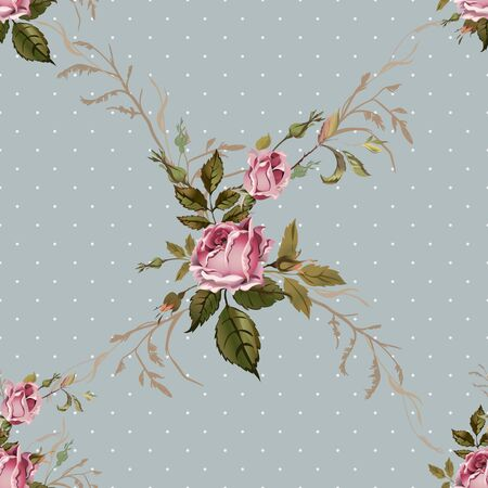 glamor: Vintage seamless pattern with roses. Old style. Illustration