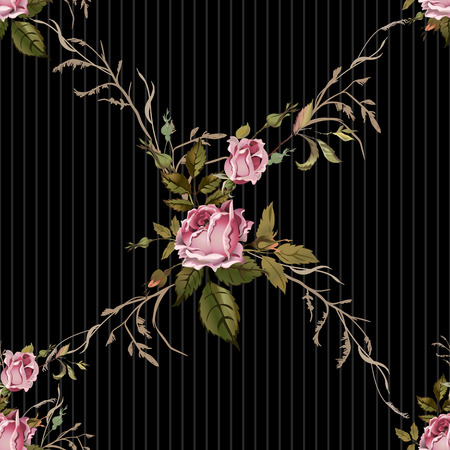 old style: Vintage seamless pattern with roses. Old style. Illustration