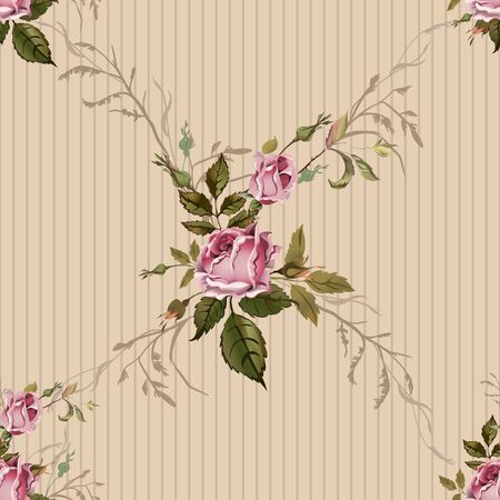 bed sheet: Vintage seamless pattern with roses. Old style. Illustration