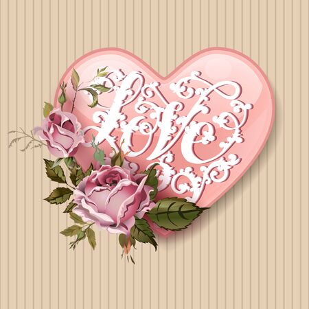 feminine background: Vintage Valentines Day greeting card With Roses and Heart Illustration