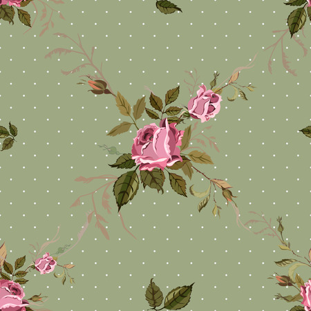 english rose: Vintage Seamless Shabby Chic pattern with roses