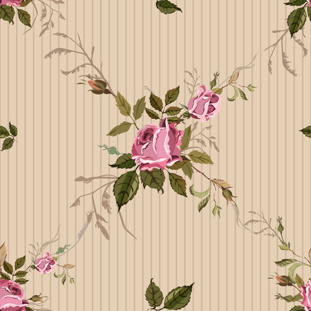 romance bed: Vintage Seamless Shabby Chic pattern with roses