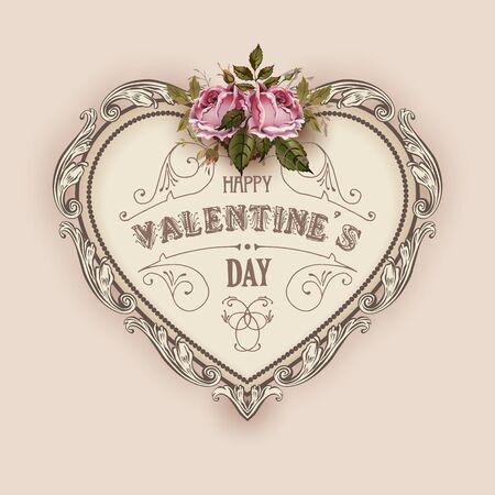bouquet fleur: Vintage carte de voeux Saint Valentin avec des roses et coeur vintage