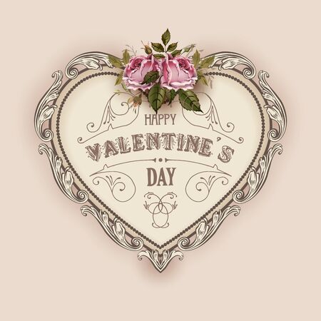 feminine beauty: Vintage Valentines Day greeting card With Vintage Roses and Heart Illustration